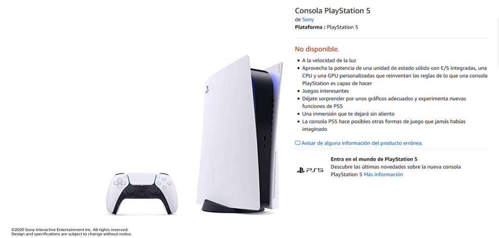 PlayStation 5 en Amazon ya aparece