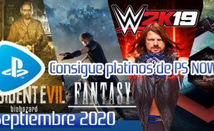 Los trofeos de los juegos de PS nOw Septiembre 2020