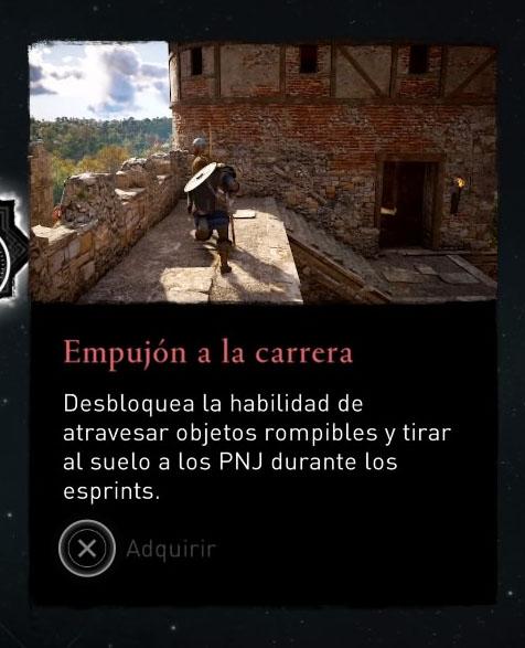 Habilidad Empujon a la carrera - atravesar objetos rompibles - Assassins Creed Valhalla